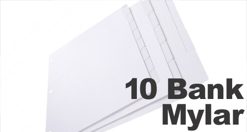 Clear Mylar (Printable) Copier Tabs: 10 Bank - 1/10 Cut