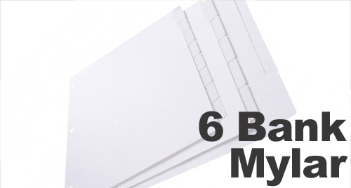 Clear Mylar (Printable) Copier Tabs: 6 Bank - 1/6 Cut