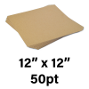"""50-Point Heavy Weight Chipboard Sheets, 12"""" X 12"""" Inches, US-made, (100 sheets)"""